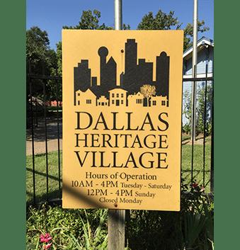 Sign for Dallas Heritage Village
