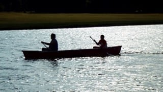 Canoe on the lake at Best Day Ever Ranch
